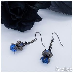 Jewelry - Antique Filigree and Czech Glass Earrings in Blue